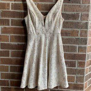 White dress with gold sequins!